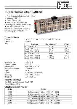HDT Premenlivý odpor VARI 320