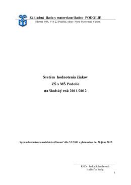 Systém hodnotenia žiakov v šk.roku 2011/12