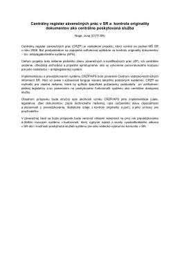 Centrálny register záverečných prác v SR a kontrola originality