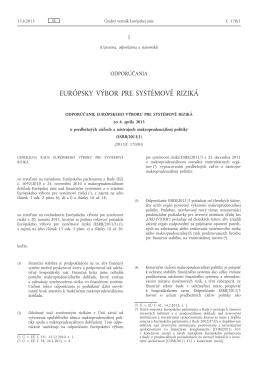 Odporúčanie Európskeho výboru pre systémové riziká zo 4