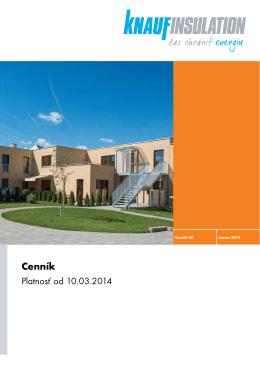 Cenník Knauf Insulation – Stavebné izolácie od 10.3.2014