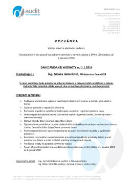 ALFA AUDIT pozvanka seminar DPH 27 01 2014