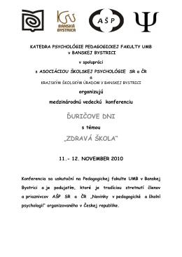 """ďuričove dni """"zdravá škola"""" - Asociácia školskej psychológie (AŠP)"""