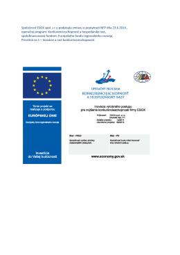 Spoločnosť ESOX spol. s r.o podpísala zmluvu o poskytnutí NFP dňa