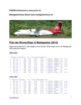 Flugplan Air Madagascar 2012 - Das Madagaskarhaus in Basel