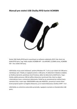 Manuál pre stolné USB čítačky RFID kariet ACM08N