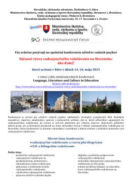 Súčasné výzvy cudzojazyčného vzdelávania na Slovensku