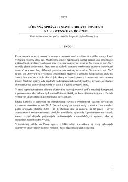 súhrnná správa o stave rodovej rovnosti na slovensku za rok 2012