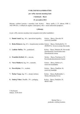 Vyhlásenie kandidátury pre voľby starostu