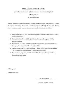Vyhlásenie kandidatúry pre voľby starostu obce v