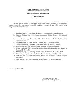 VYHLÁSENIE KANDIDATÚRY pre voľby starostu obce