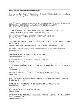 (2003). Sociální procesy a osobnost 2003. Brno: Psychologický