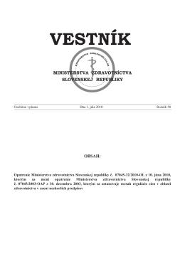 vestník - Ministerstvo zdravotníctva SR