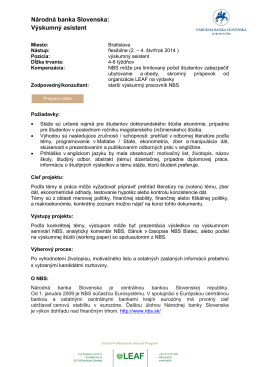 Národná banka Slovenska: Výskumný asistent