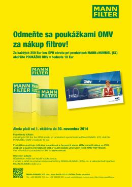 Odmeňte sa poukážkami OMV za nákup filtrov!