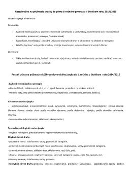 Rozsah učiva na prijímacie skúšky v školskom roku 2014/2015