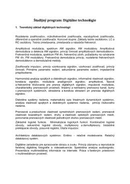 Študijný program: TELEKOMUNIKÁCIE