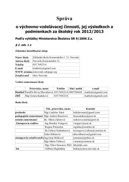 Sprava o výchovno-vzdelávacej činnosti 2012