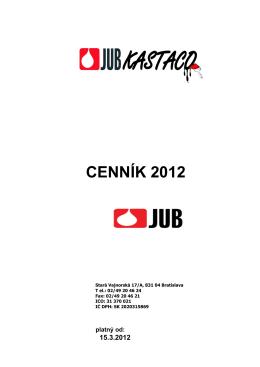 CENNÍK 2012 - JUB Kastaco