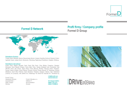 Profil firmy / Company profile Formel D Group Formel D Network