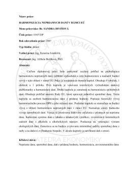 Názov práce: HARMONIZÁCIA NEPRIAMYCH DANÍ V RÁMCI EÚ