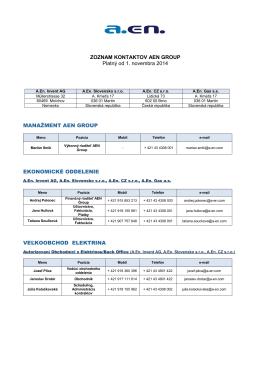 ZOZNAM KONTAKTOV AEN GROUP Platný od 1. novembra 2014