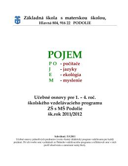 Učebné osnovy pre 1.stupeň ZŠ s MŠ Podolie