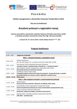 Konference na téma: Kreativní průmysl a regionální rozvoj, Zlín