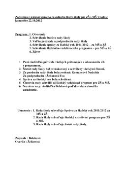 Zasadnutie Rady školy 22/10/2012