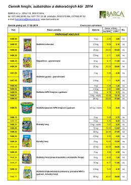 Cenník hnojív, substrátov a doračných kôr 2014