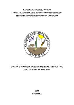 rok 2010 - Katedra rastlinnej výroby