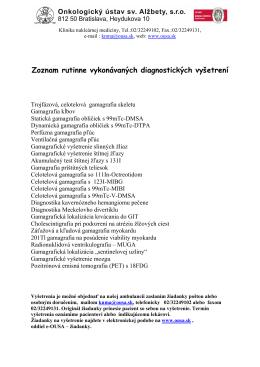 Zoznam rutinne vykonávaných diagnostických vyšetrení - e-Ousa