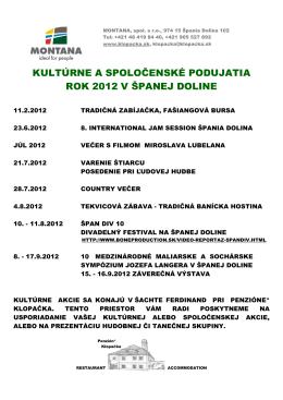 Špania Dolina kulturne leto 2012