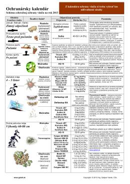 Ochranársky kalendár 2013