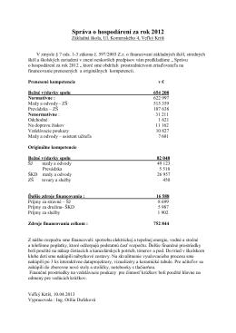 Správa o hospodárení za rok 2012
