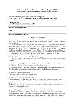 Vyúčtovanie dotácie poskytnutej na základe zmluvy č