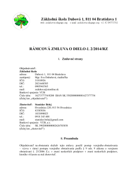 RÁMCOVÁ ZMLUVA O DIELO č. 2/2014/RZ