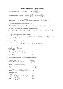 Exponenciálna a logaritmická funkcia Príklady aj s výsledkami