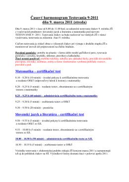 Časový harmonogram Testovania 9-2011 dňa 9. marca