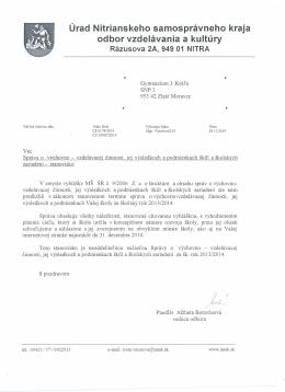 Úrad Nitrianskeho samosprávneho kraja odbor vzdelávania a kultúry