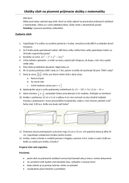 Ukážky úloh na písomné prijímacie skúšky z matematiky