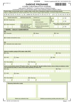Daňové priznanie k dani z motorových vozidiel za rok 2013