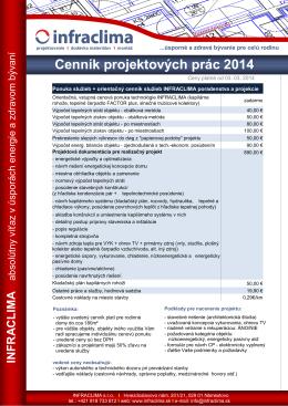 Cenník projektových prác 2014