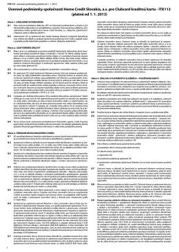 Úverové podmienky spoločnosti Home Credit Slovakia, a.s.
