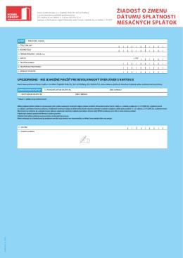 žiadosť o zmenu dátumu splatnosti mesačných splátok