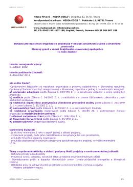 MEDIA COELI ® 2012-12-03 eurofondy dotácie sociálne služby