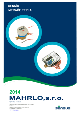Cenník merače tepla platný od 1.4.2014