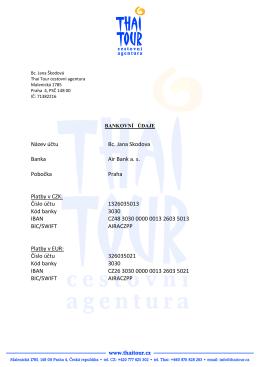 Název účtu Bc. Jana Skodova Banka Air Bank a. s. Pobočka Praha