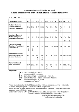 Letná prázdninová prax - I. stomatologická klinika UPJŠ LF a UN LP