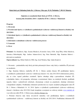 Rada školy pri Základnej škole Dr. J. Dérera, Ulica gen